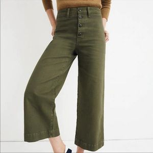Madewell Olive Wide Leg Crop Pants